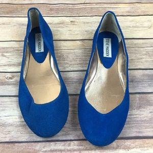 Steve Madden HEAVEN Blue Suede Ballet Flat Shoes